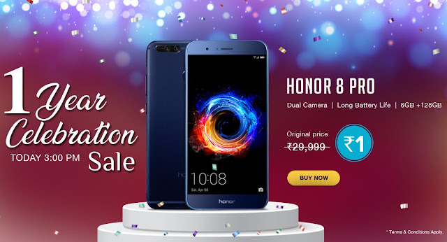 Honor 1 Year Celebration Sale - Honor 8 Pro Flash Sale Just for Rs 1
