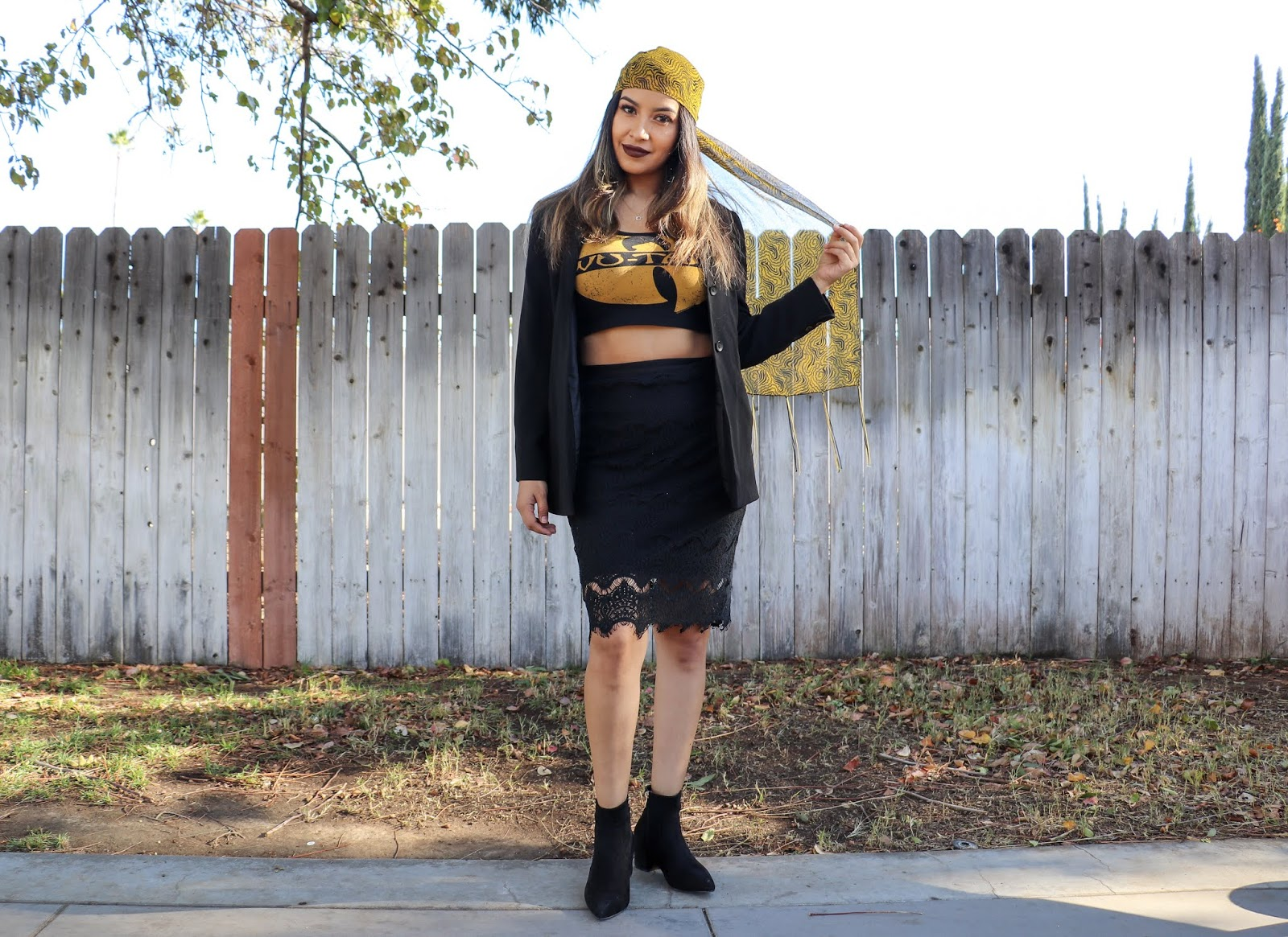 WuTang_Clan_Crop_top_Ootd_Lace_Skirt_Black_BLazer_Head_Scarf