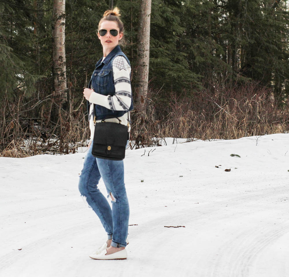 Layering with a denim vest- alaska fashion blogger