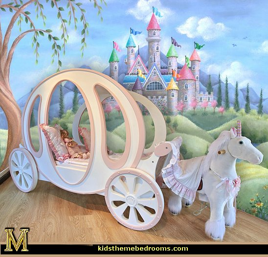 Decorating theme bedrooms maries manor carriage bed for Disney princess castle mural