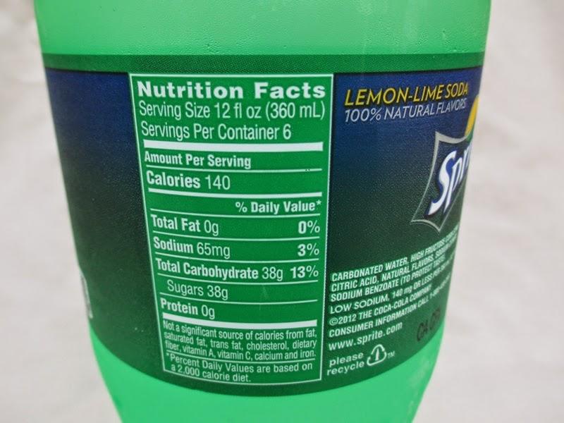Sprite Soft Drink Nutritional Information