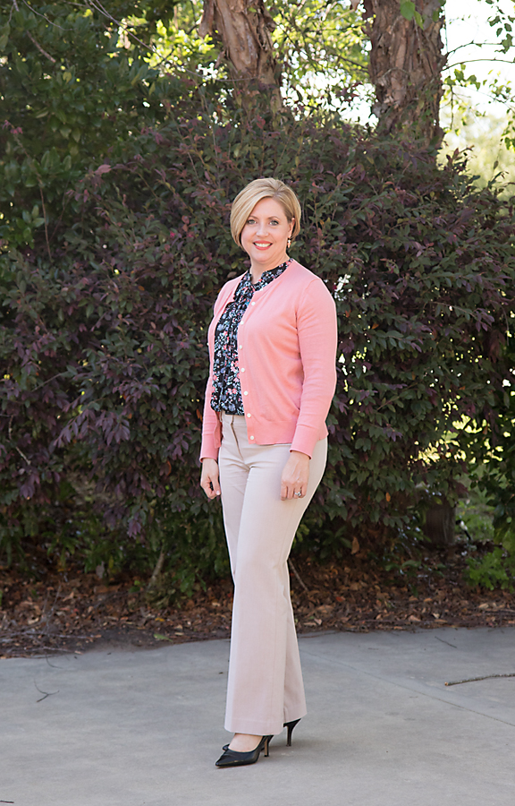 coral cardigan office outfit