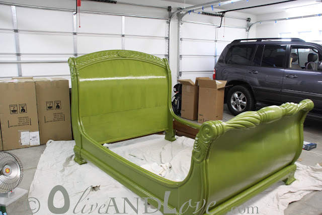 glossy olive green sleigh bed