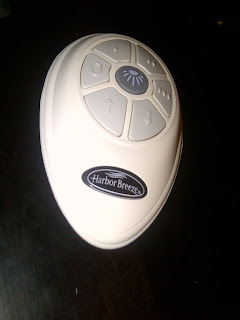 Close-up of ceiling fan remote control