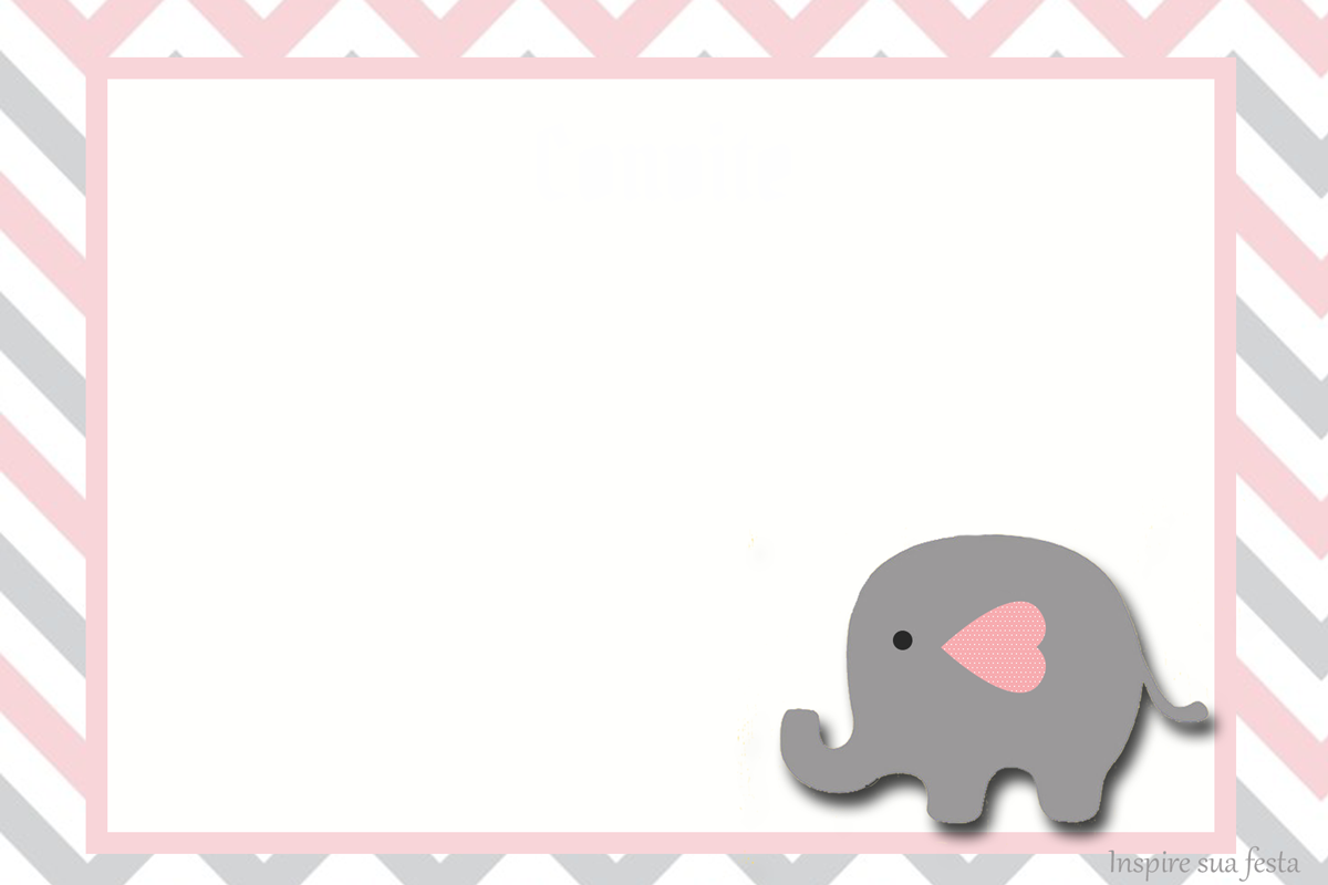Baby Elephant In Grey And Pink Chevron Free Printable
