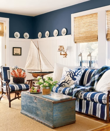 navy blue room paint idea living room above beadboard wainscoting