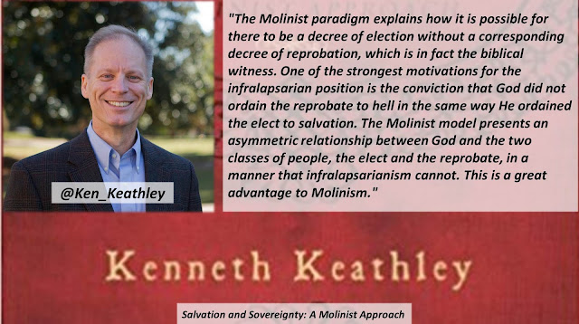 "Quote from ""Salvation and Sovereignty: A Molinist Approach"" by Dr. Kenneth Keathley- ""The Molinist paradigm explains how it is possible for there to be a decree of election without a corresponding decree of reprobation, which is in fact the biblical witness. One of the strongest motivations for the infralapsarian position is the conviction that God did not ordain the reprobate to hell in the same way He ordained the elect to salvation. The Molinist model presents an asymmetric relationship between God and the two classes of people, the elect and the reprobate, in a manner that infralapsarianism cannot. This is a great advantage to Molinism."" #Molinism #Calvinism #God #Salvation #Soteriology #Bible #Christianity"