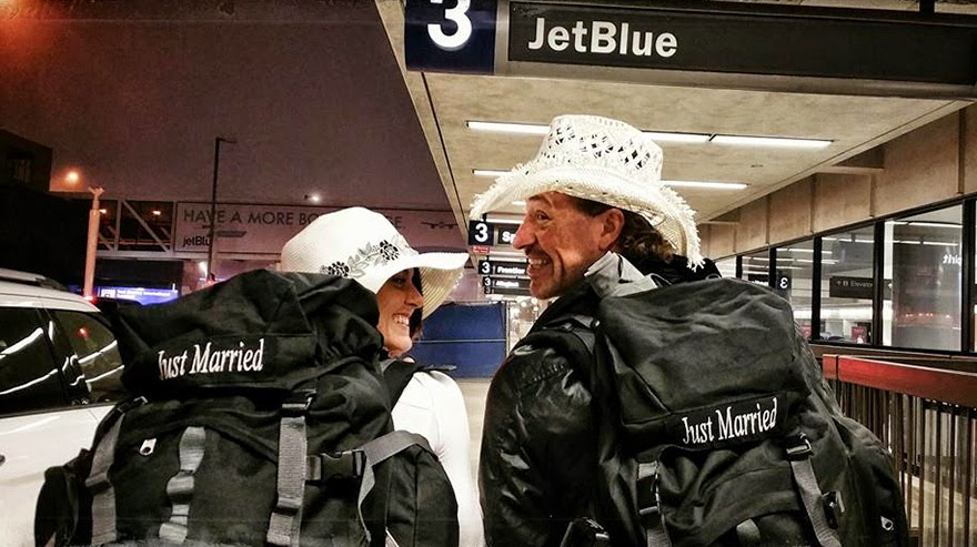 Flying off to another destination! - Acrobat Couple Gets Married In 38 Different Places Around The World In 83 Days