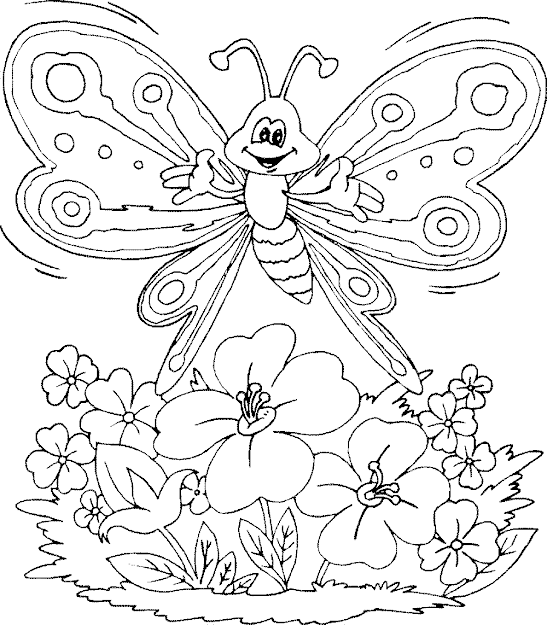Flower Color Pages Butterfly Big Butterfly Color Number Throughout Flowers  And Butterflies Coloring Pages
