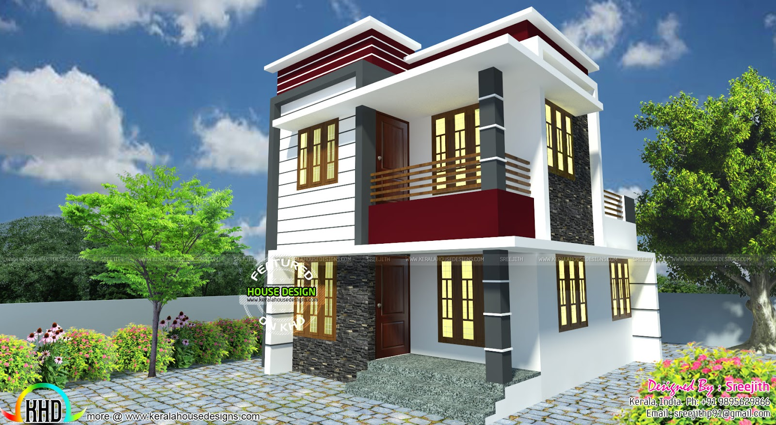 Small south facing modern home kerala home design and for Small contemporary home designs