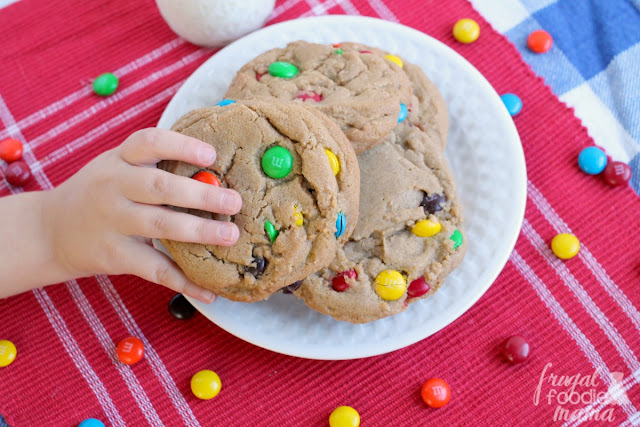 Chock full of M&M's & cookie butter, these thick & soft Bakery Style Cookie Butter M&M's Cookies are so easy to make at home.