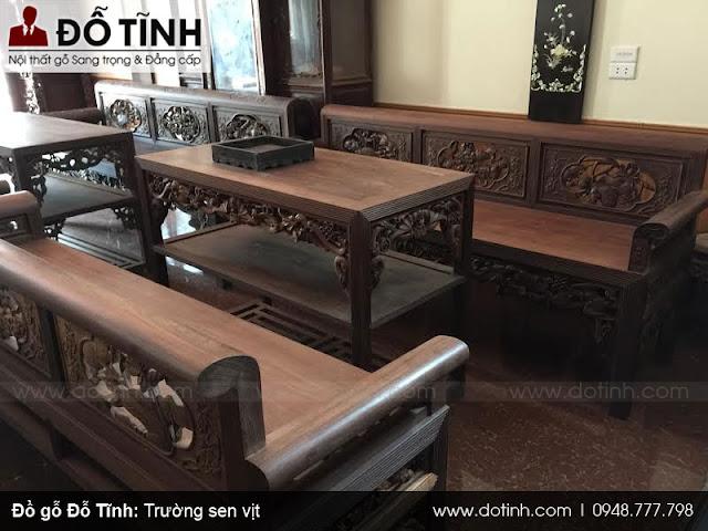 Trường kỷ đục sen vịt - Cửa hàng đồ gỗ Nam Định Đỗ Tĩnh