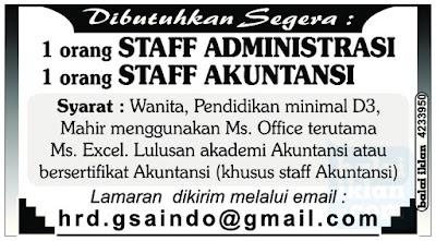 Lowongan Kerja Staff di Bandung