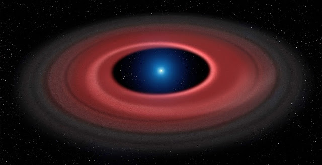 An asteroid torn apart by the strong gravity of a white dwarf has formed a ring of dust particles and debris orbiting the Earth-sized burnt out stellar core. Credit: University of Warwick/Mark Garlick
