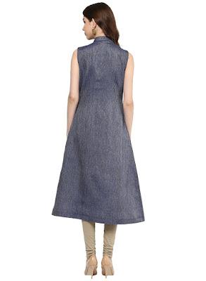 Women's Blue A-line Long Kurti