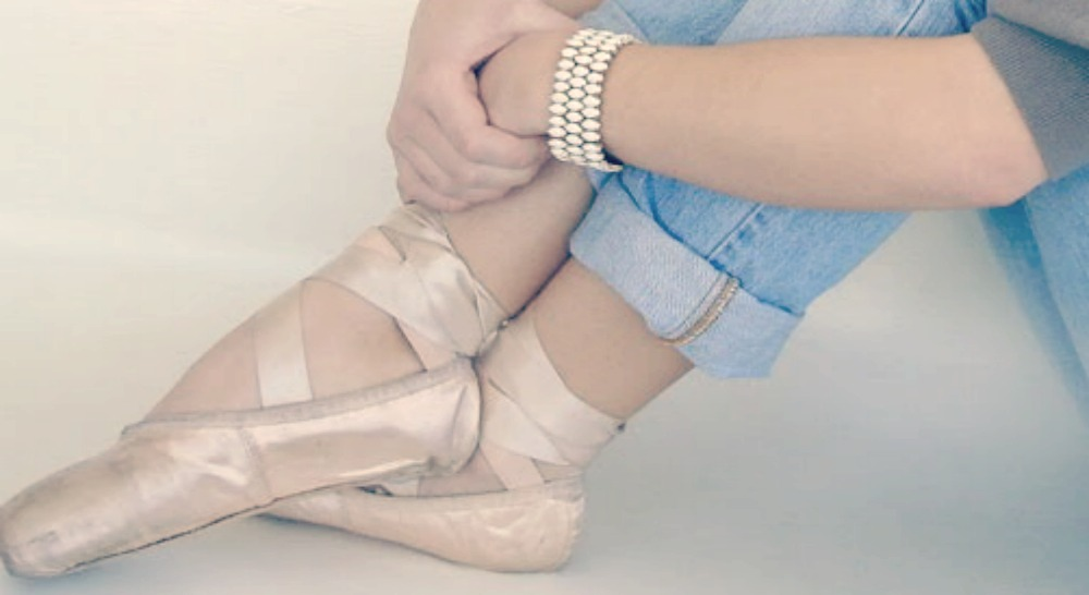 Ballet slippers, denim, and vintage bracelet. Styling and photo by Hello Lovely Studio.