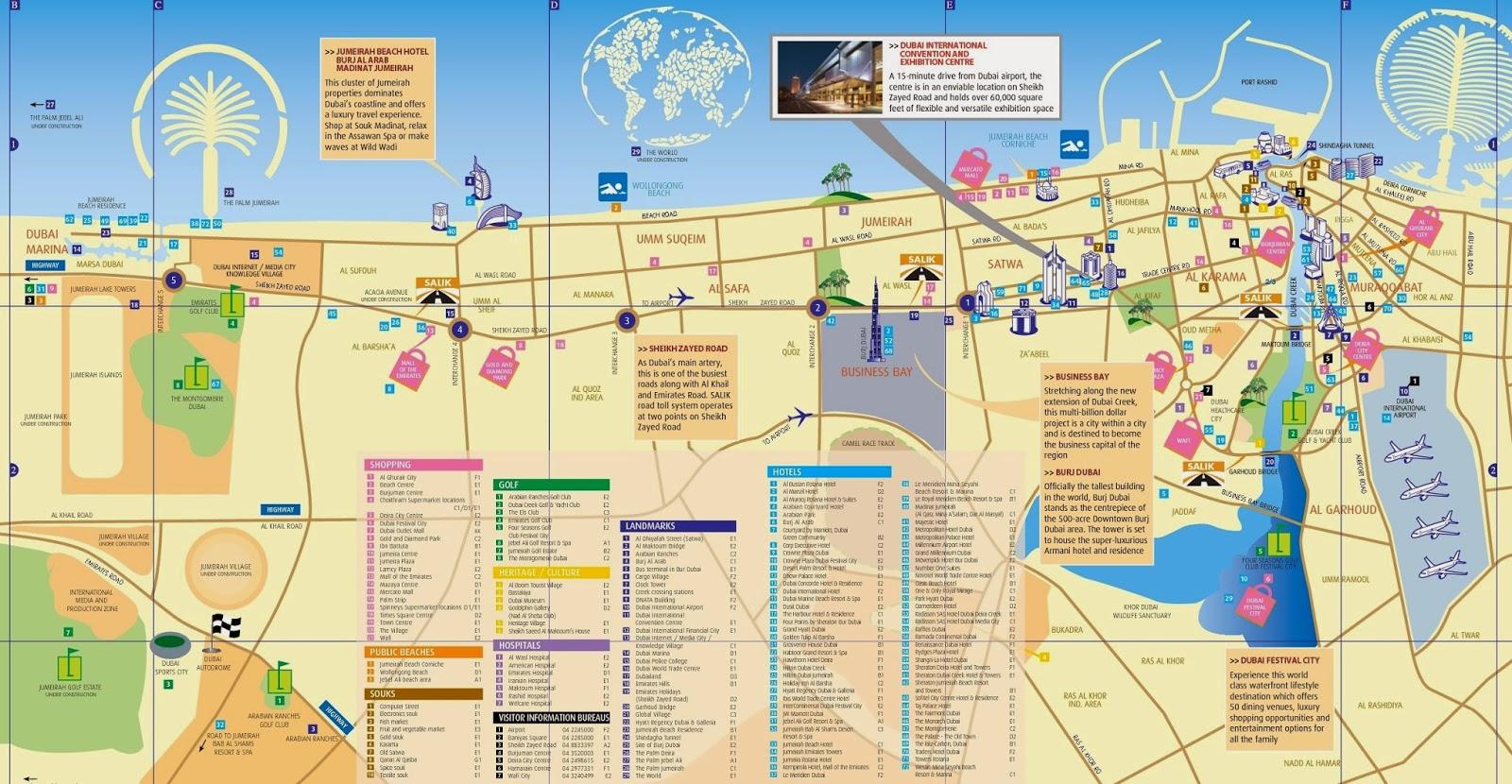 Attractive Destinations in Dubai - map
