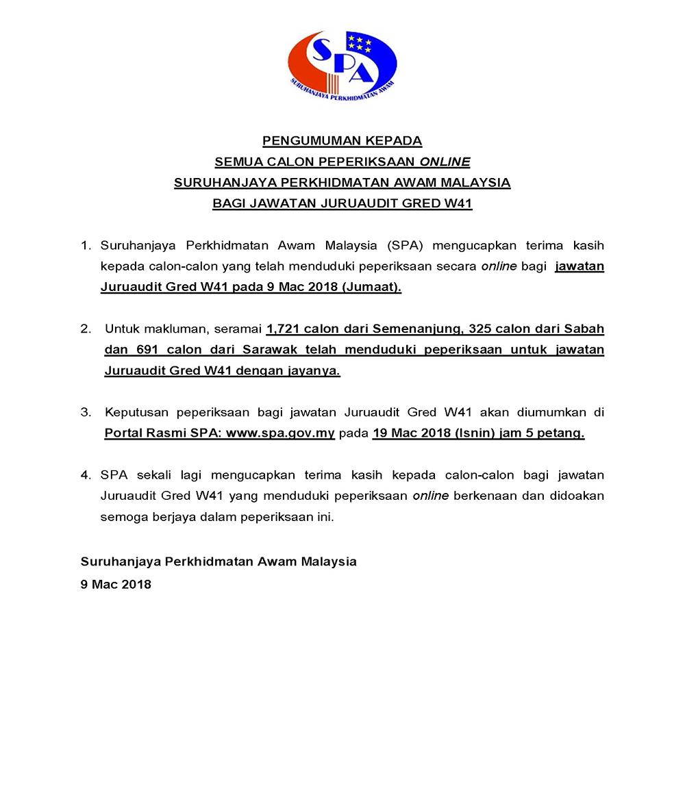 Semakan Keputusan Peperiksaan Juruaudit Gred W41 2018 Online Sumber Kerjaya