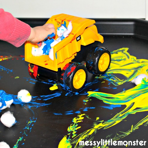 pattern making with paint and toy cars