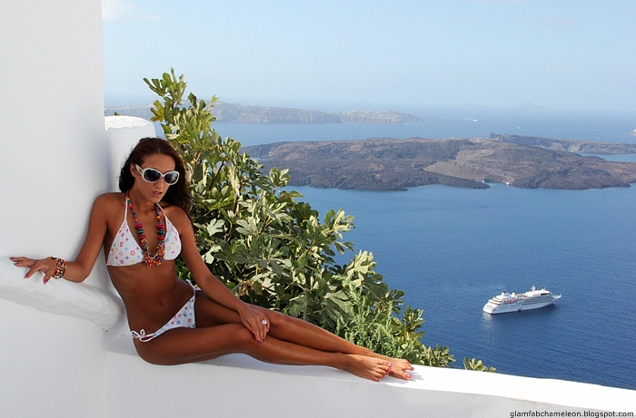 white bikini looks for luxury vacation in Santorini