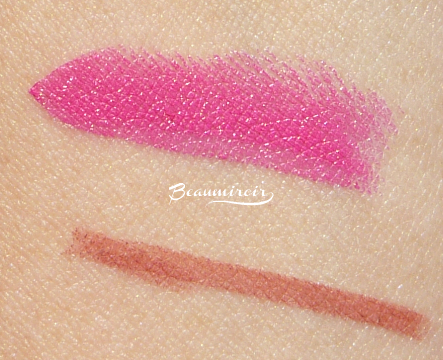 Swatches of Bite Beauty Amuse Bouche lipstick in Kimchi and Tarte Tarteist Lip Crayon in Latergram