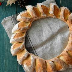 Receta para preparar pan en forma de corona de espigas