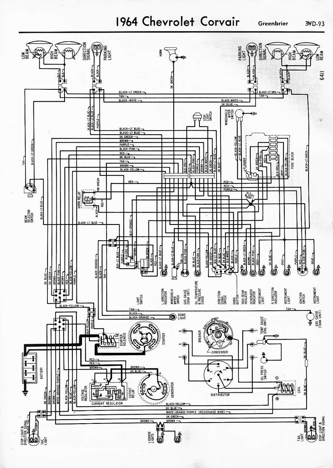 free auto wiring diagram  1964 chevrolet corvair