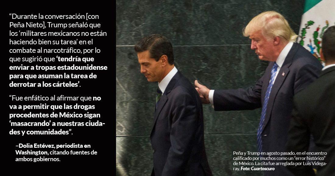 Trump fue humillante con EPN y amagó con enviar tropas de EU