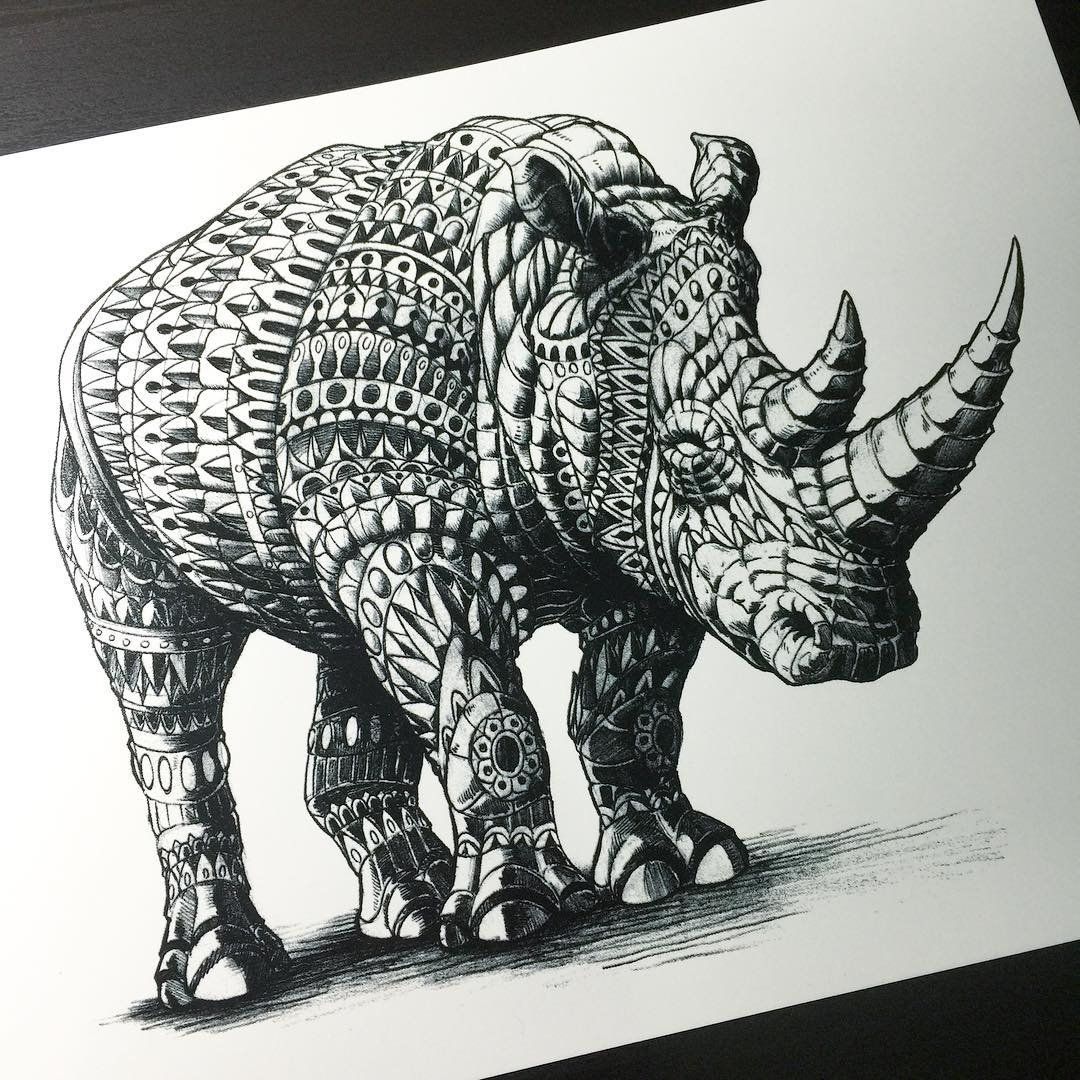 18-Rhino-Print-Ben-Kwok-Ornate-and-Intricate-Animal-Drawings-www-designstack-co