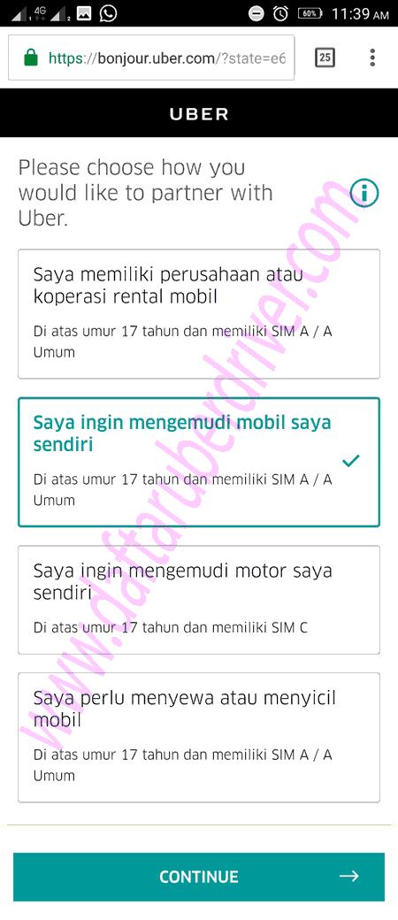 Pilih saya akan mengemudi dengan mobil saya sendiri - DaftarUberDriver.com