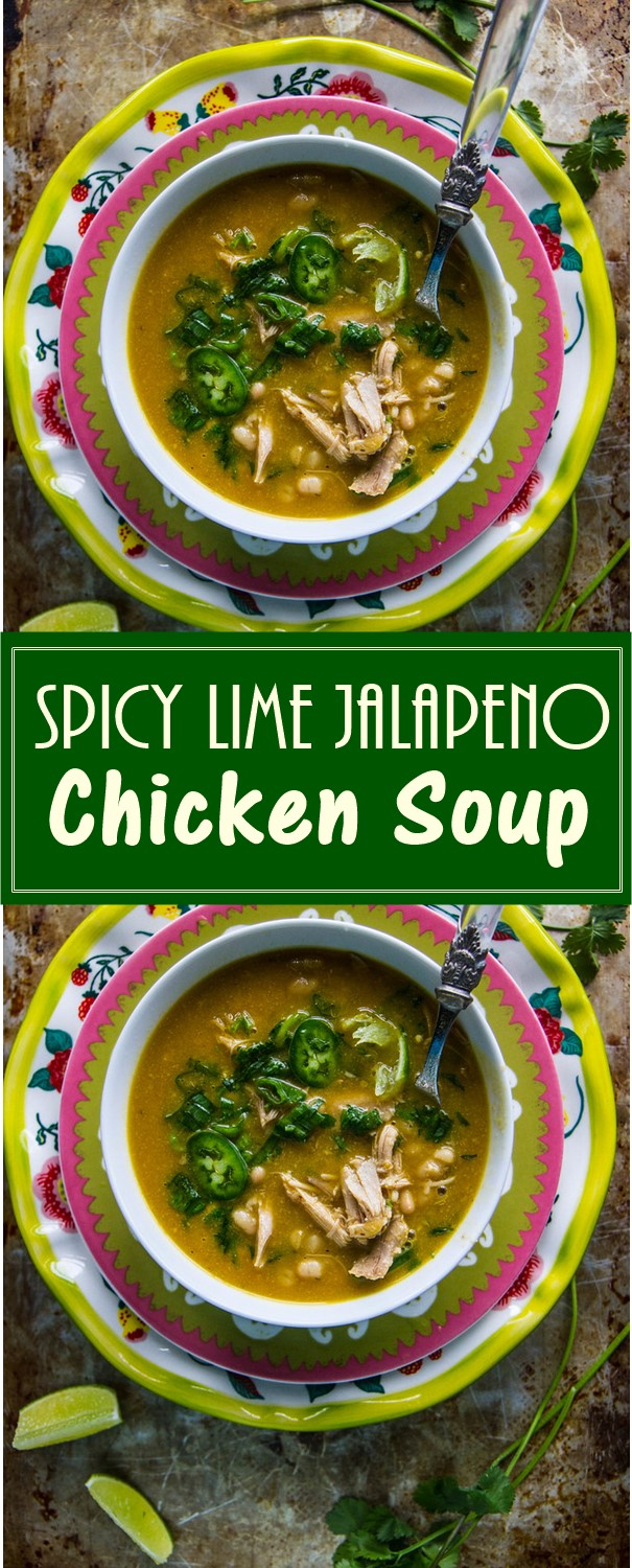 Spicy Lime Jalapeno Chicken Soup #souprecipes