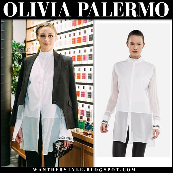 Olivia Palermo in white high neck long shirt karl lagerfeld and black jacket event outfit october 26