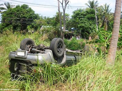 Day time car accident on Koh Samui, Thailand
