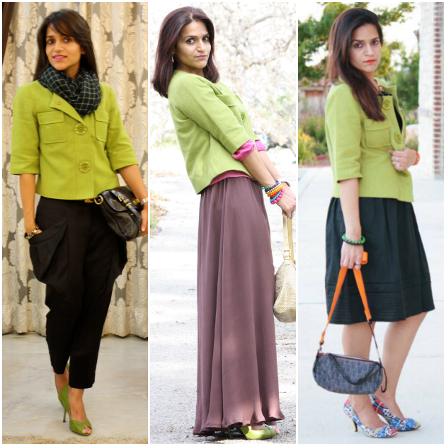 Three Ways to Style Green Jacket, Tanvii.com