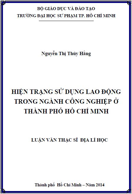 Hiện trạng sử dụng lao động trong ngành công nghiệp ở thành phố Hồ Chí Minh