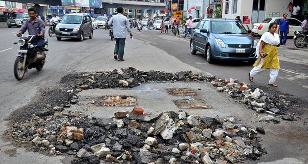 Poor Indian Infrastructure: Roads in Hyderabad since 2010.