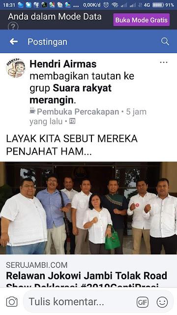 "Disebut ""Penjahat HAM"", Relawan Jokowi di Jambi Pidanakan Pemilik Akun Facebook Hendri Airmas"