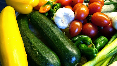 Assorted Vegetables: zucchini, peppers, tomatoes