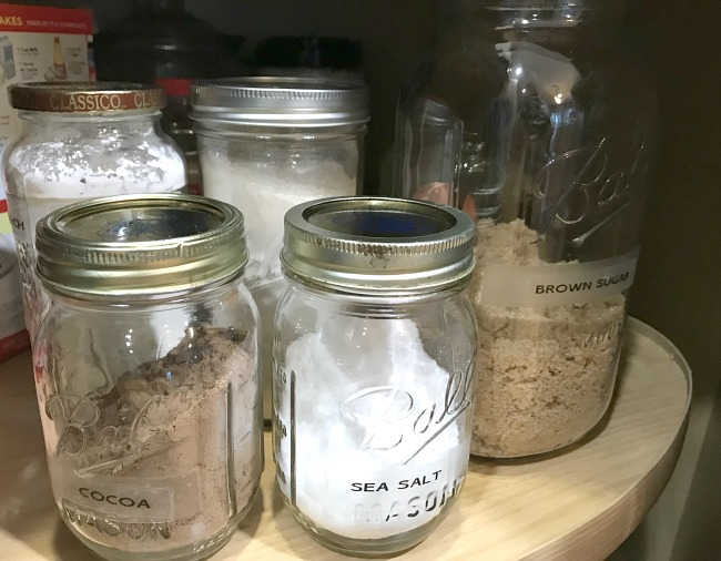 Mason Jar Organization with labels  in the Kitchen