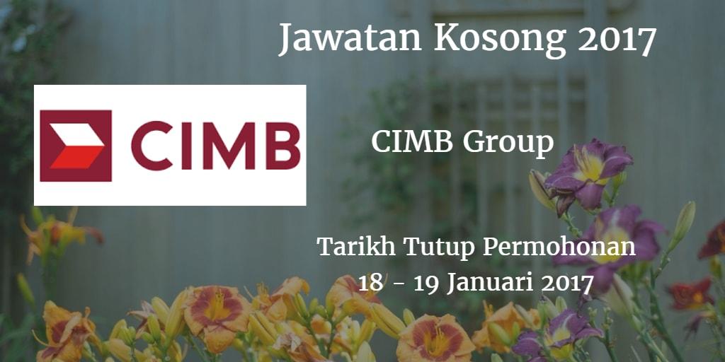 Jawatan Kosong CIMB Group 18 - 19 Januari 2017