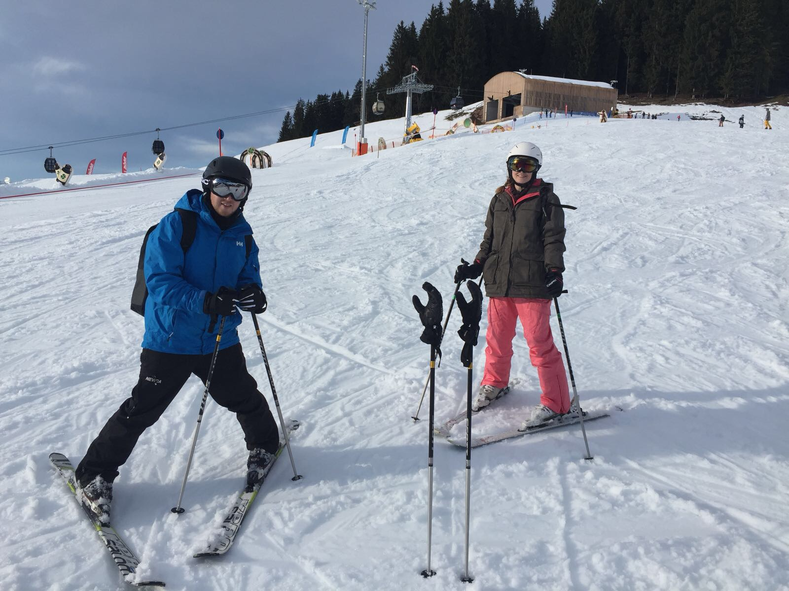 Skiing down a beginner slope in Austria