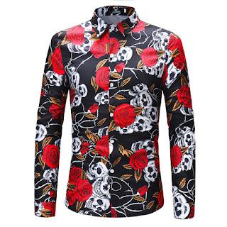 Men's Long Sleeve Skull Rose Print Shirt