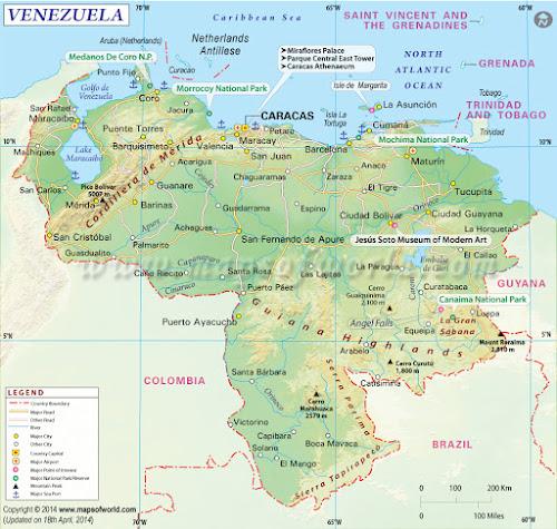 Mapa da Venezuela