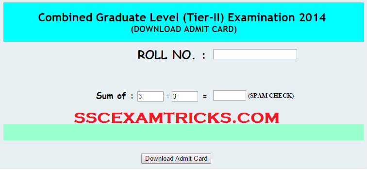 SSC TIER 2 ADMIT CARDS