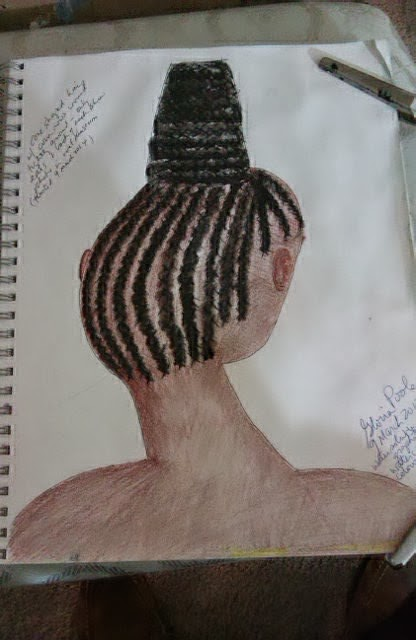 """Corn rows of Africa"" sketch by Gloria Poole of Missouri; March 2014"