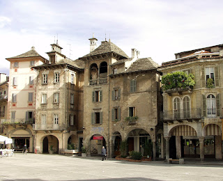 Some fascinating buildings line Piazza Mercato in the  medieval heart of Domodossola