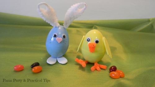 plastic egg bunny, plastic egg chick