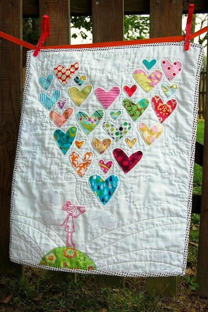 Dishfunctional Designs Heart Quilt Made With Old Outgrown Baby Clothes