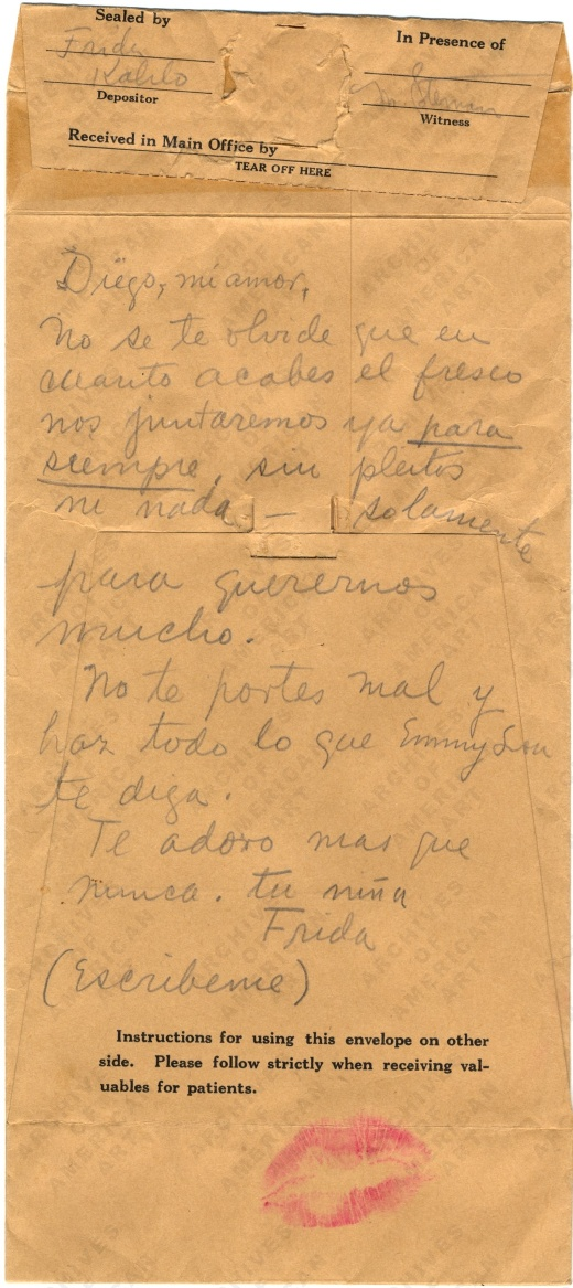 Recado de Frida Kahlo para Diego Riviera