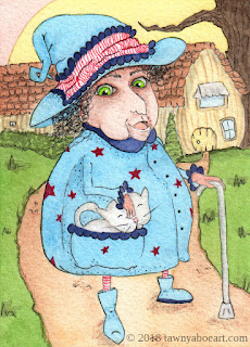 Witch With Kitty in Her Pocket by Tawnya Boe
